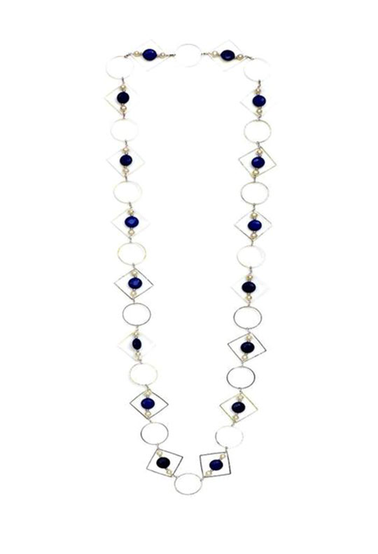 Geometric Necklace  in 18kt Gold Plating with Pearl and  Blue Quartz