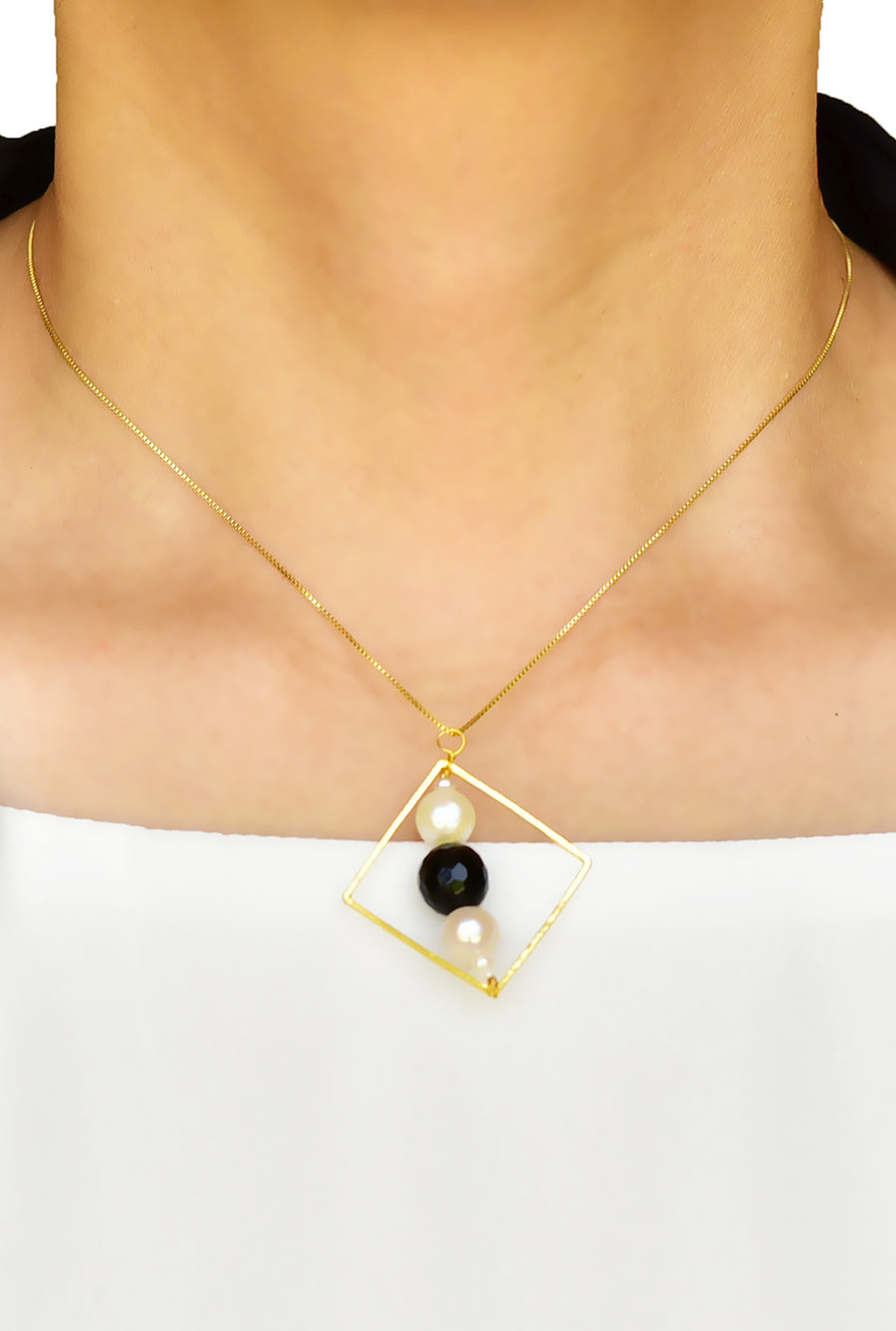 Pearl and Onyx Square Hoop Pendant Necklace