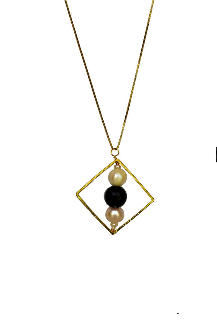 Geometric Pendant with Pearl and Onyx