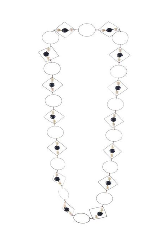 Pearl and  Black Onyx  Loop Geometric Long Necklace