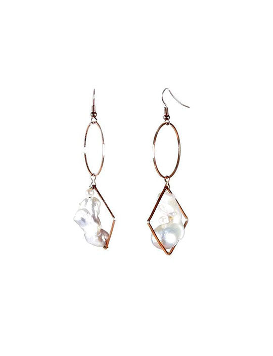 Baroque/Keshi Pearl Loop Dangle Earrings