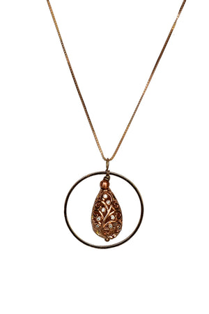 Drop Filigree Pendant Necklace Rose Gold Finish