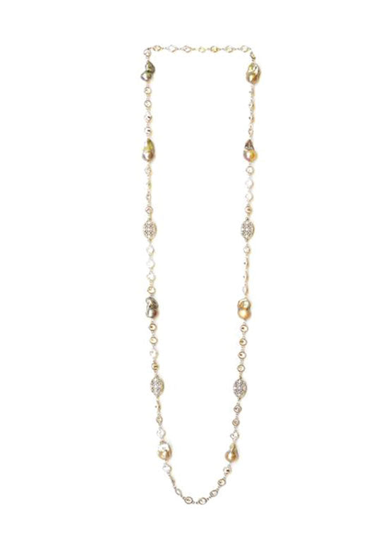 Cubic Zirconia Necklace with Pearl in Silver Alloy Chain