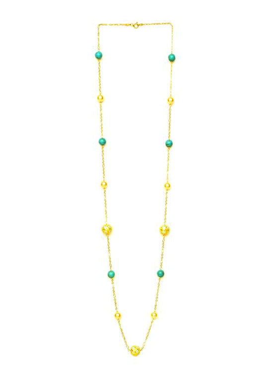 Painted Enamel Meena  Necklace With Pearls in 925 Sterling Silver Chain
