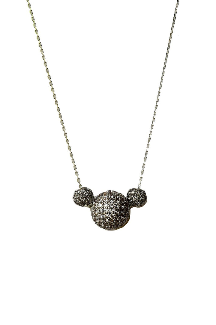 Silver cubic zirconia short  necklace  with pave setting shimmery balls- Silver necklace