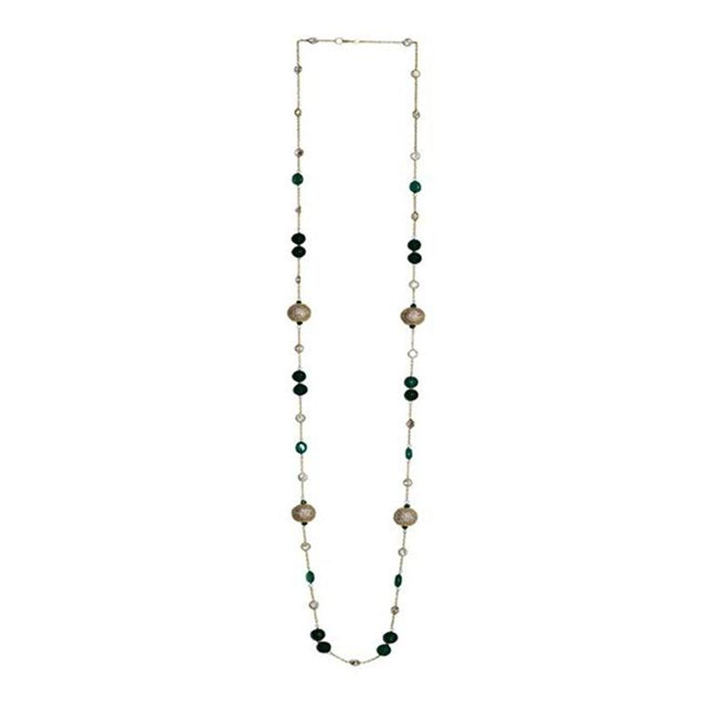 Green Onyx, Agate & Cubic Zirconia Ball Long Necklace in 925 Sterling Silver Crystal Chain (G)