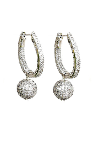 Snowglobe Oblong Hoop Earrings