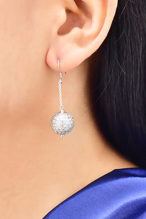 Cubic Zirconia Ball Dangle  Earrings
