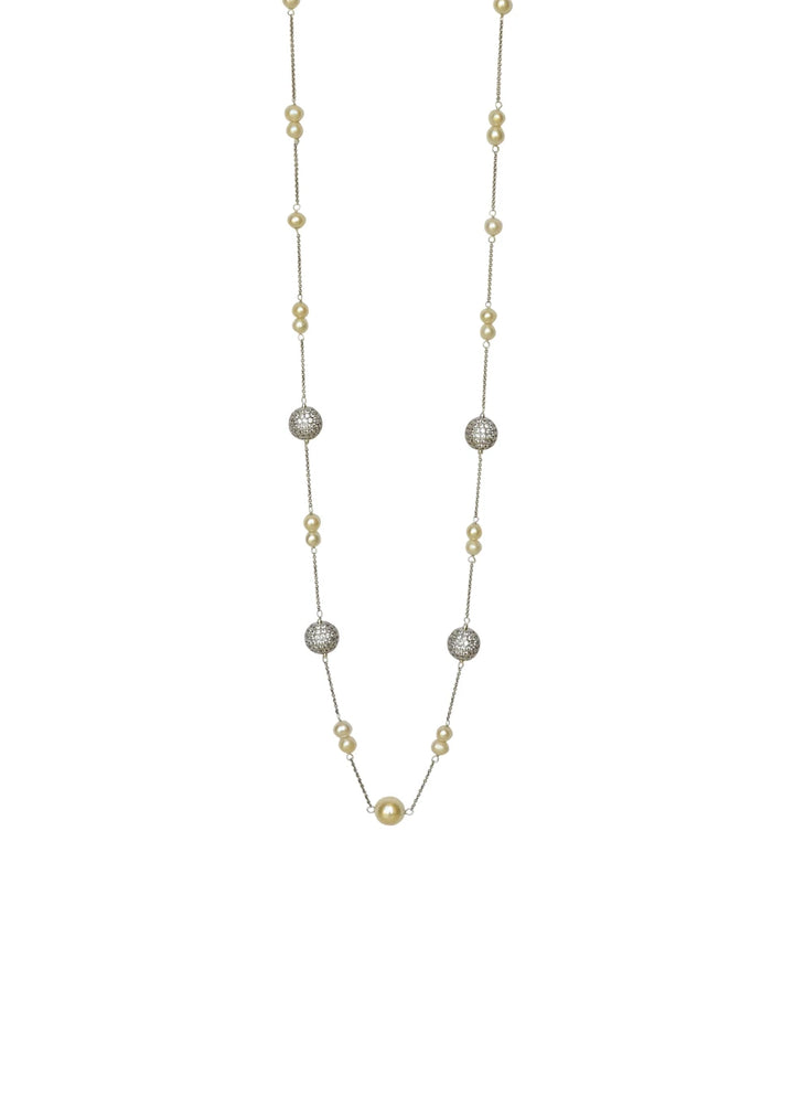 Pearl & Ball Cubic Zirconia Long Necklace