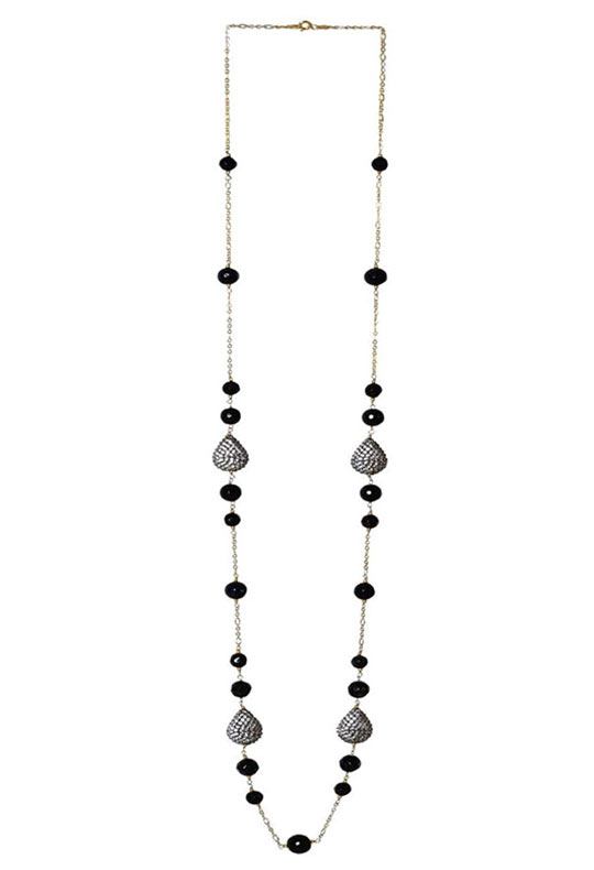 Drop Cubic Zirconia & Black Onyx Long Necklace in 925 Sterling Silver Chain