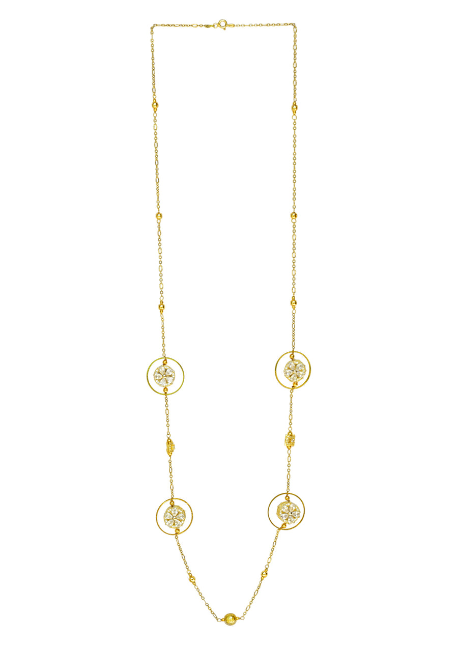 Embedded Flower Cubic Zirconia Necklace  Gold Finish