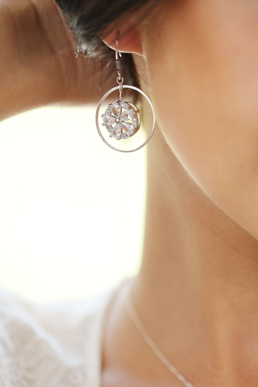 Embedded Flower Cubic Zirconia Earrings Silver