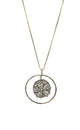 Embedded Flower Pendant Necklace Silver Finish