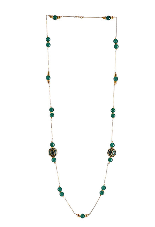 Handcrafted 'Dumroo' Bead Long Necklace with Quartz