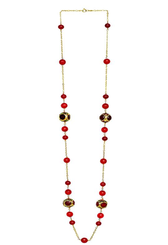 Handcrafted 'Caged' Bead Necklace Red Finish