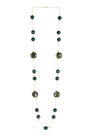 Handcrafted Studded Bead Long Necklace with Agate in 925 Sterling Silver Chain