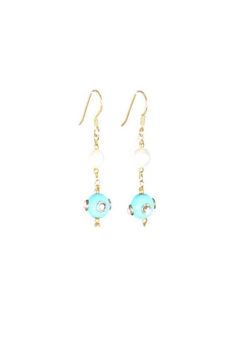 Handcrafted Turquoise Studded Bead & Pearl Earrings with 925 Sterling Silver Hooks