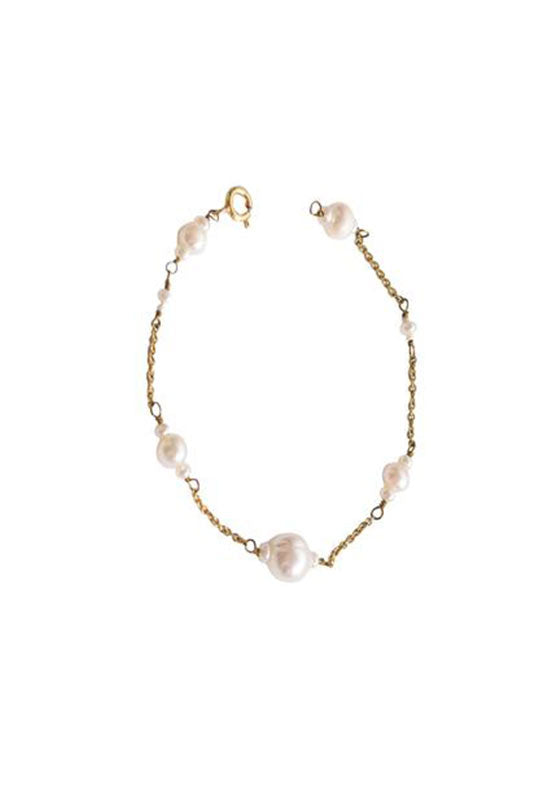 Silver Gold Plated Bracelet with Fresh Water Pearl