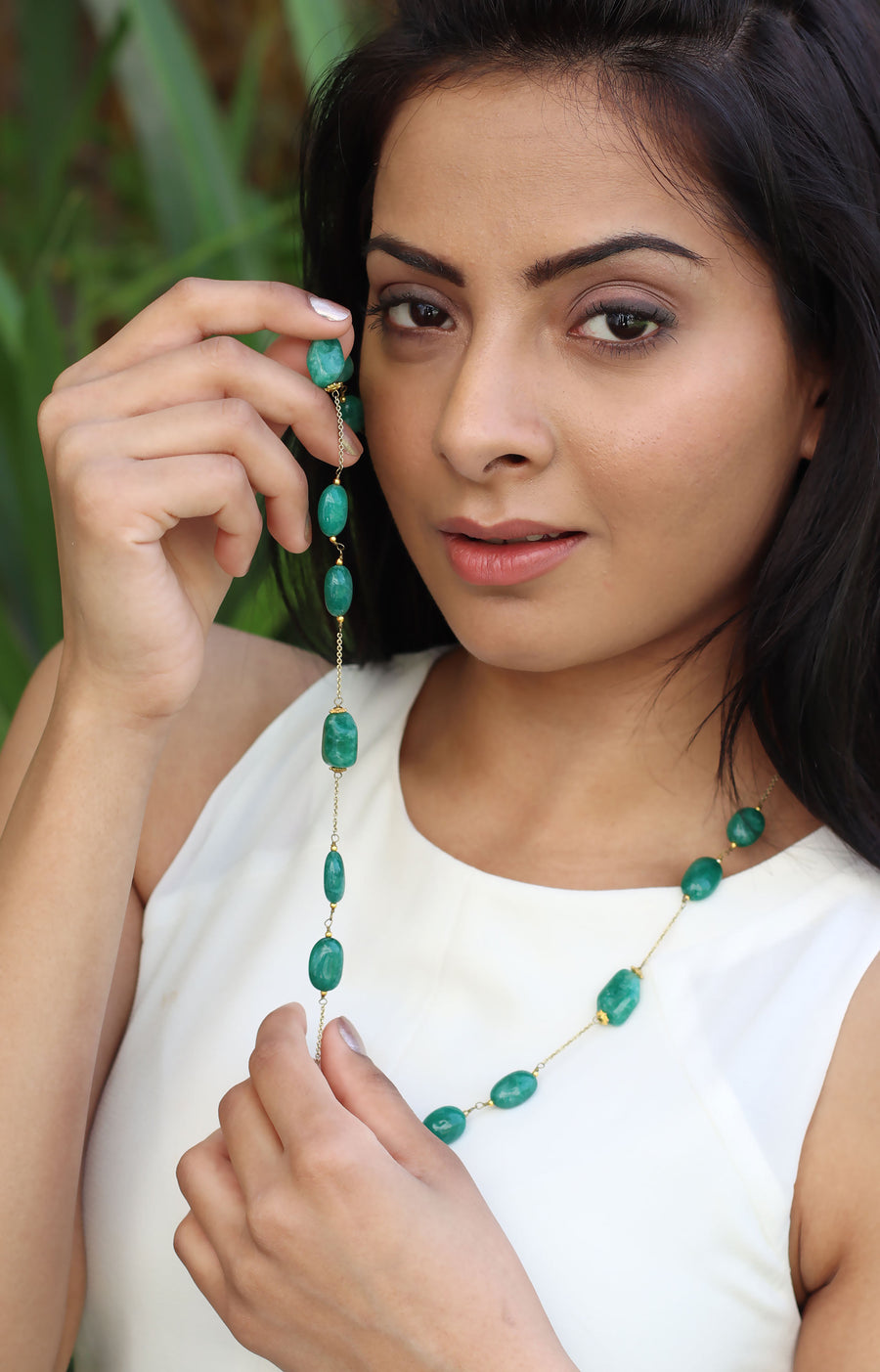 Green  Quartz  Necklace in 925 Sterling Silver Chain