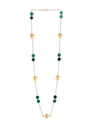 Pearl & Green Quartz Necklace in 925 Sterling Silver Chain