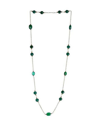 Green Onyx & Quartz  Necklace in 925 Sterling Silver Chain