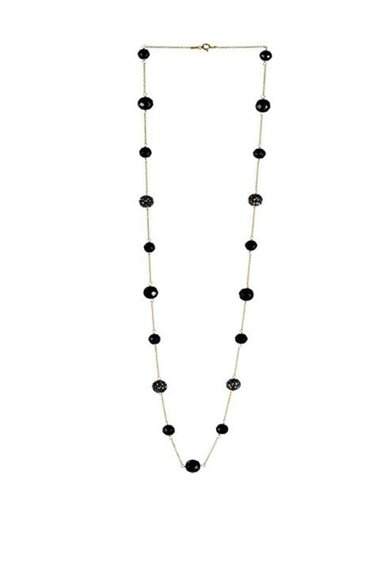 Onyx & Shimmer Bead Necklace in 925 Sterling Silver Chain