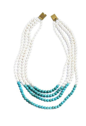 Long layered  necklace with  pearl and turquoise