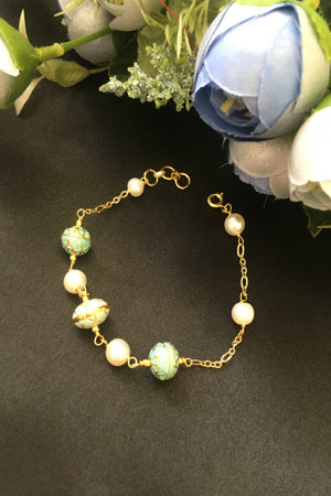 Silver Bracelet with painted enamel  beads and pearl.