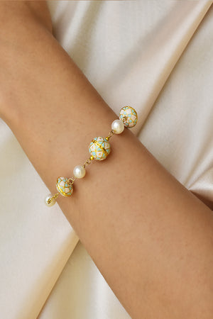 Painted Enamel and Pearl Bracelet