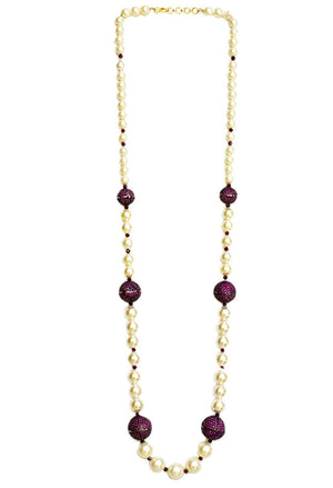 Pearl Necklace With Garnet & Cubic Zirconia