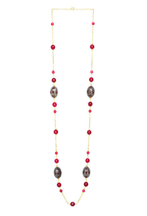 Sterling Silver Long Beaded Necklace Red FinIsh