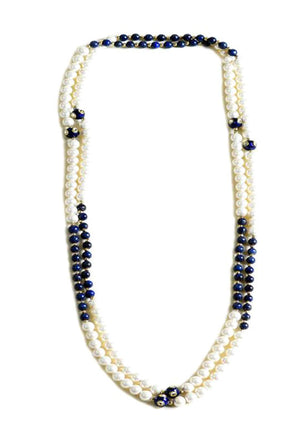 Pearl Necklace with Lapis Lazuli
