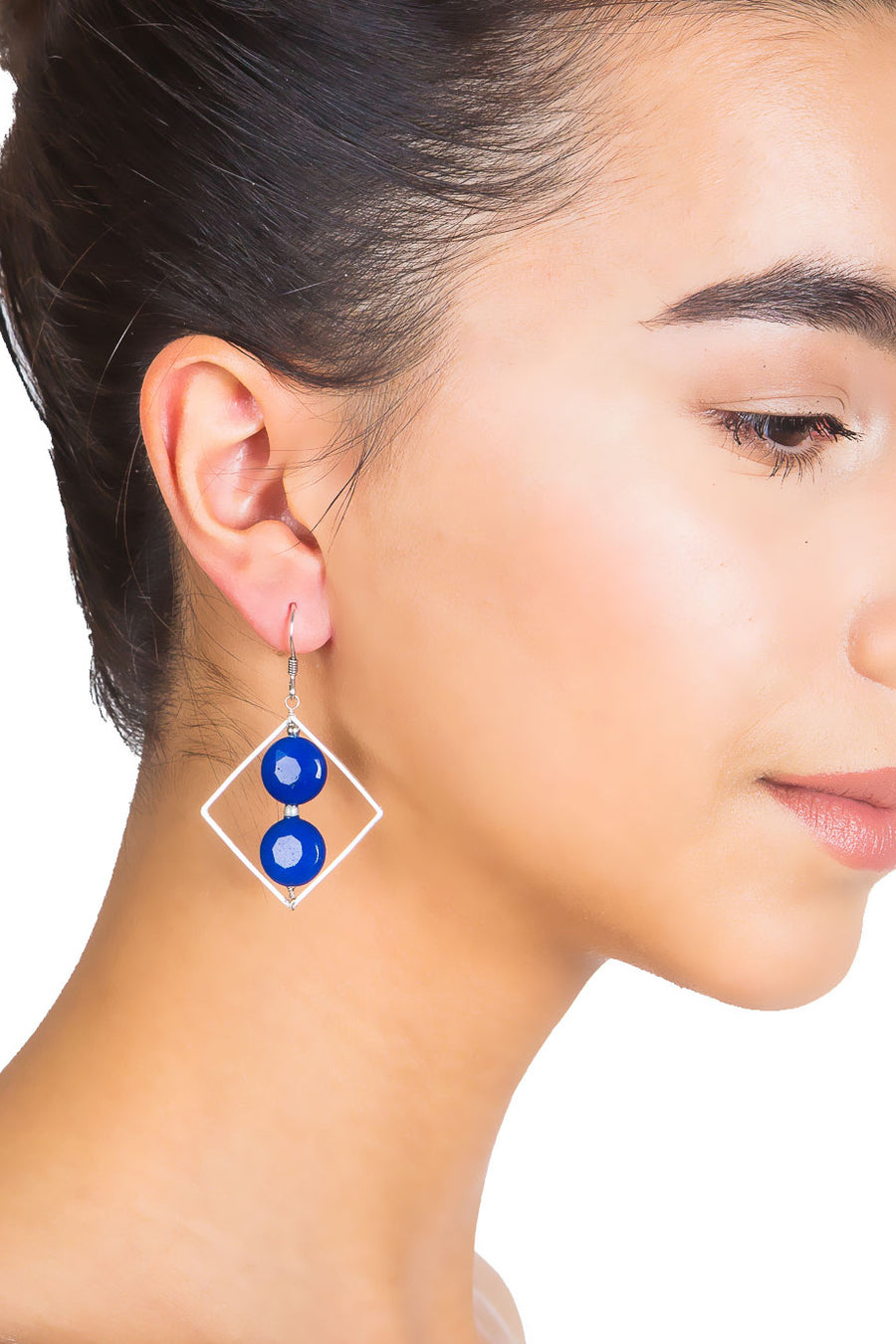Quartz Square Hoop Earrings