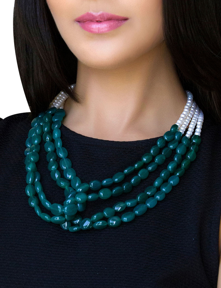Pearl Necklace with Green Onyx Tumbles