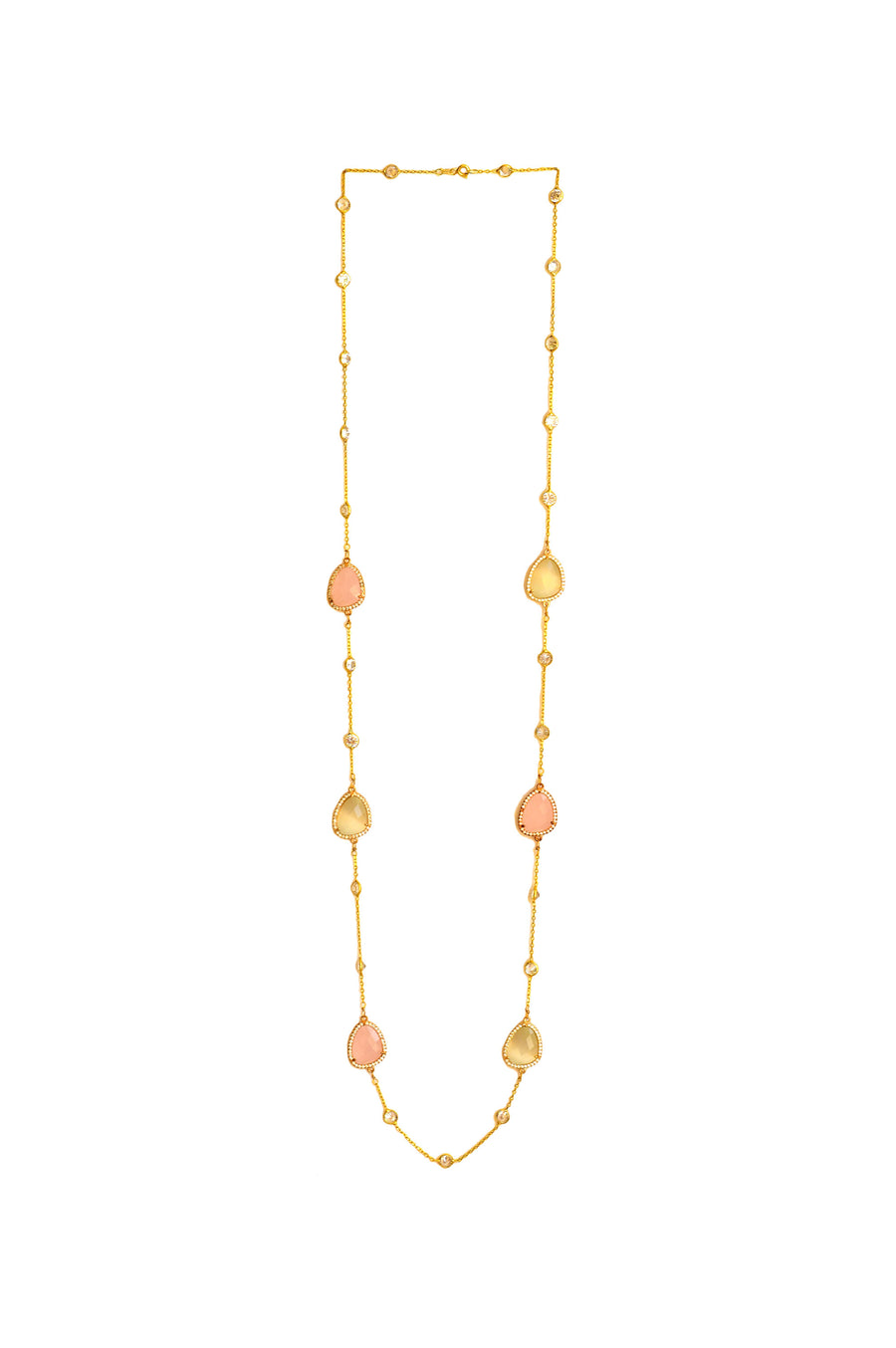 Nahla Long Necklace - Coloured stone