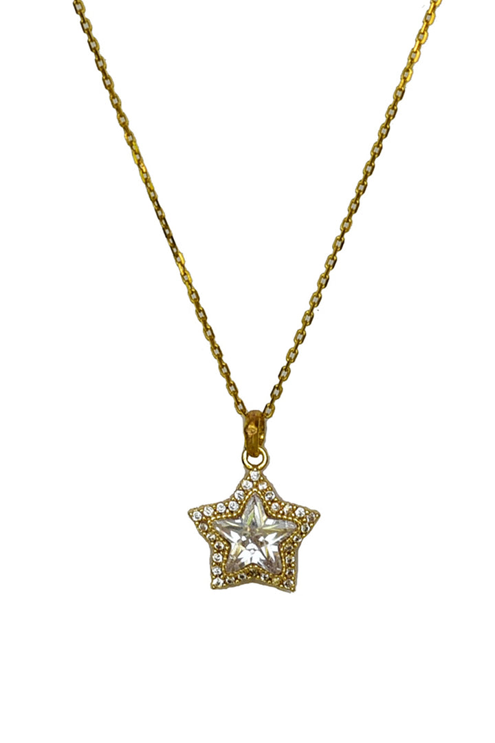 Star cubic zirconia pendant necklace in 925 silver with yellow gold finish