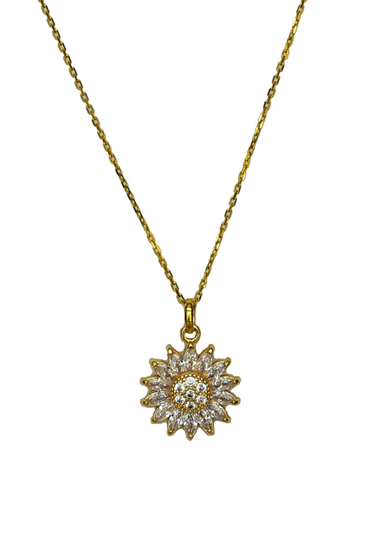 Sunflower Cubic Zirconia Pendant Necklace-Pendant-thejewelsjarstore-M's Gems DMCC