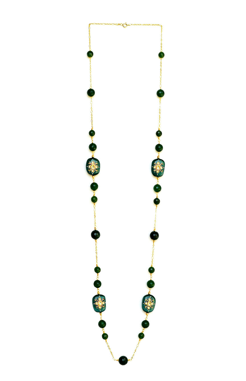 Quartz and Pearl Long Necklace Green