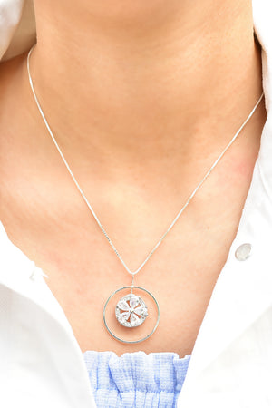 Embedded Flower Pendant Necklace Silver Lifestyle