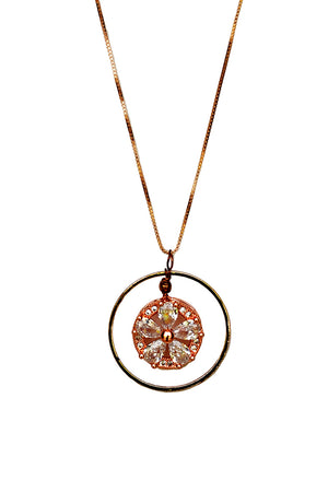Embedded Flower Pendant Necklace Rose Gold Finish