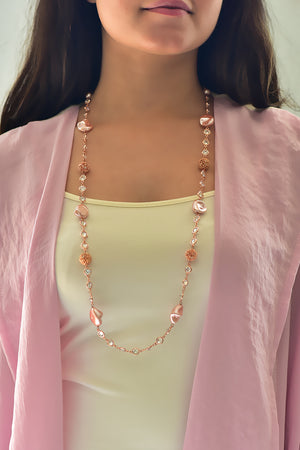 Alia Crystal Necklace(Rose gold) - Cubic Zirconia, Pearl & Filigree Bead Crystal