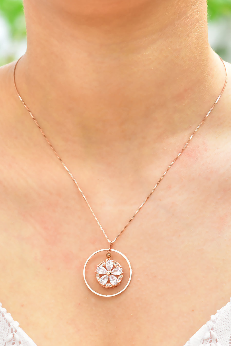 Embedded Flower Pendant Necklace Rose Gold Lifestyle