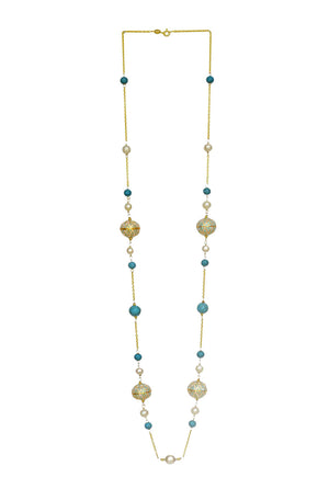Nyla Long Necklace - Enamel Meena, Pearl & Turquoise Necklace