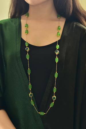 Handcrafted 'Caged' Bead Long Necklace with Chalcedony
