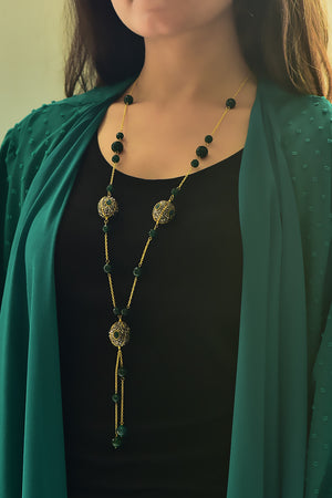 Malika Tassel Necklace - Cubic Zirconia  & Quartz