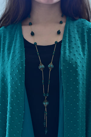 Handcrafted Barrel Bead Tassel Necklace Green Finish