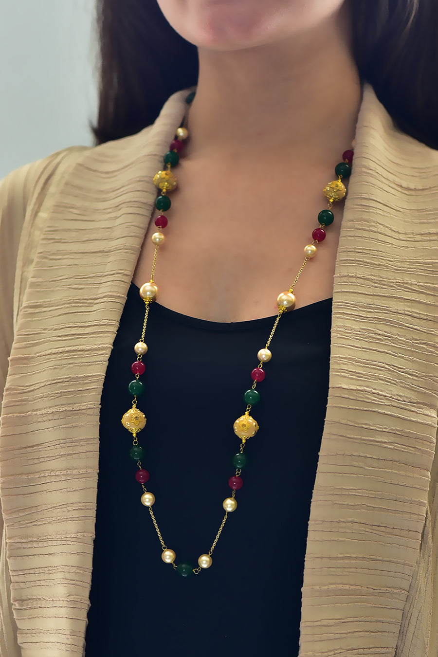 Rana Necklace - Heritage Bead, Pearl & Quartz