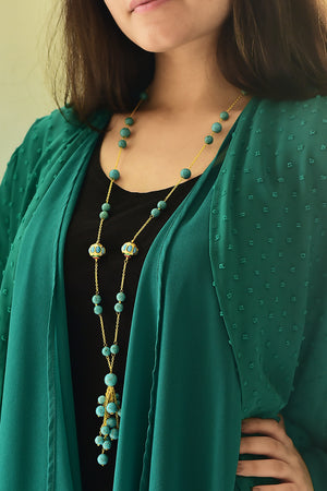 Silver Gold Plated Handcrafted 'Dumroo' Bead Tassel Necklace with Turquoise