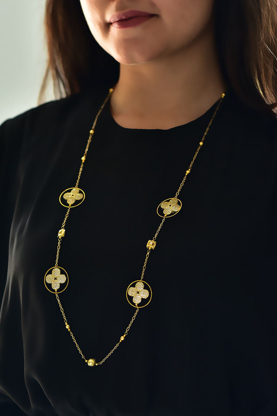 Floral Cubic Zirconia Geometric Necklace Gold Lifestyle