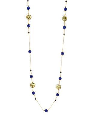 Painted Enamel Meena Necklace with Lapis Lazuli